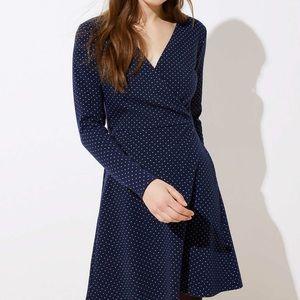 NWT Loft navy and white polka dot wrap dress
